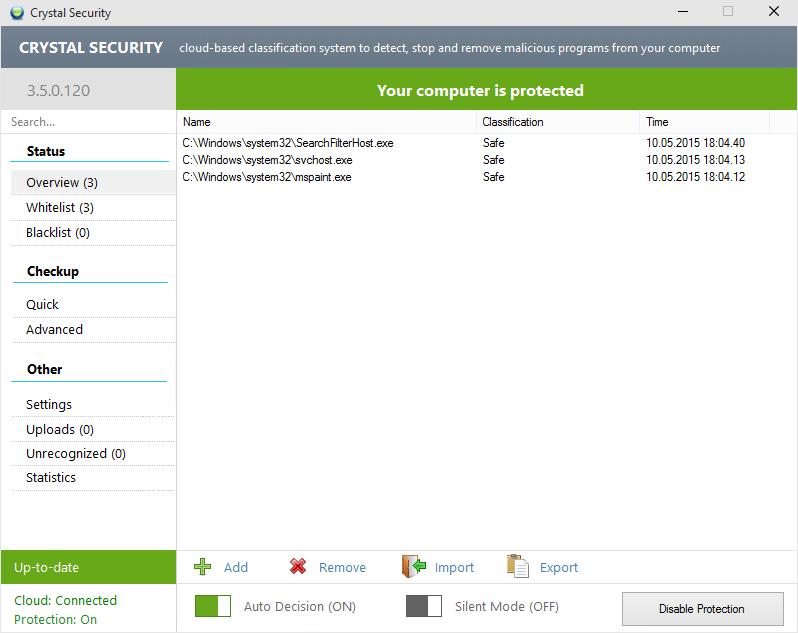 Crystal Security для Windows 10