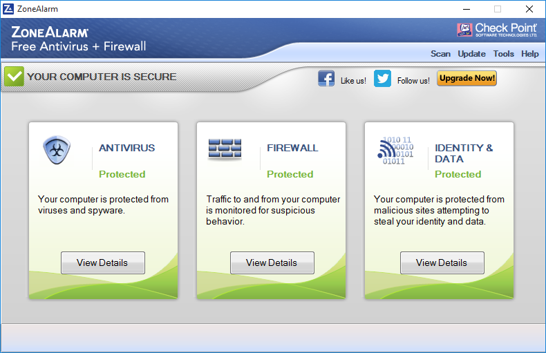 ZoneAlarm Free Antivirus + Firewall для Windows 10