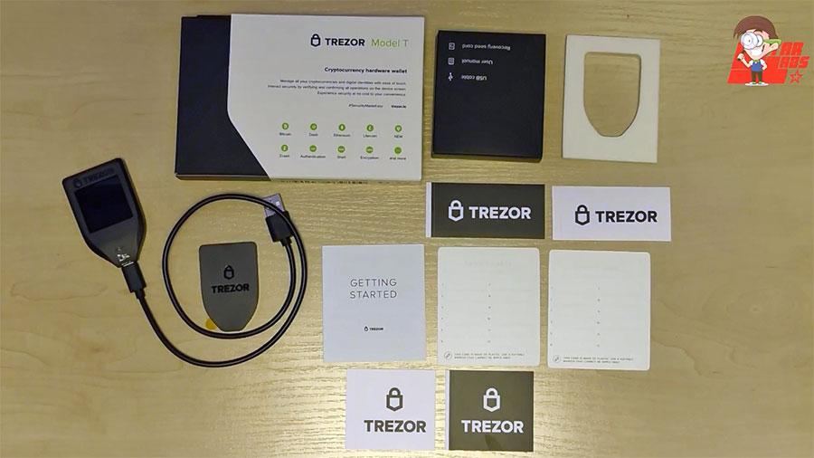 Комплект поставки холодного кошелька Trezor T