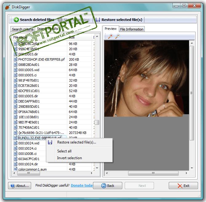 Скриншот программы DiskDigger 1.17.14.2309