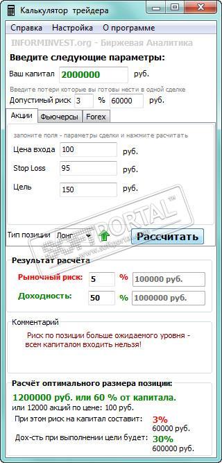 калькулятор трейдера онлайн