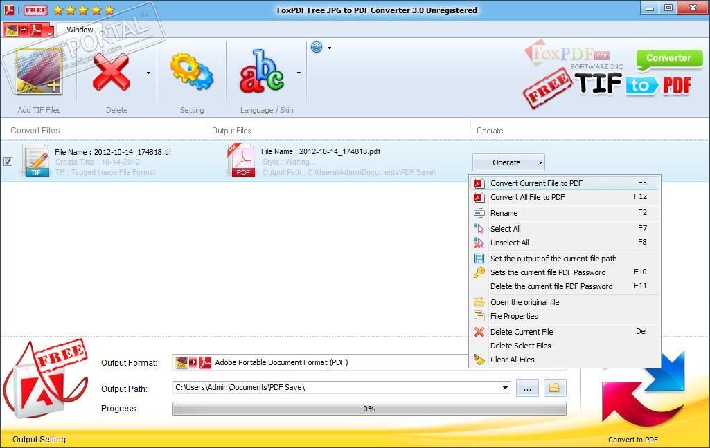 FoxPDF Free TIF to PDF Converter
