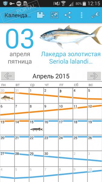 Информер прогноза клева рыбы