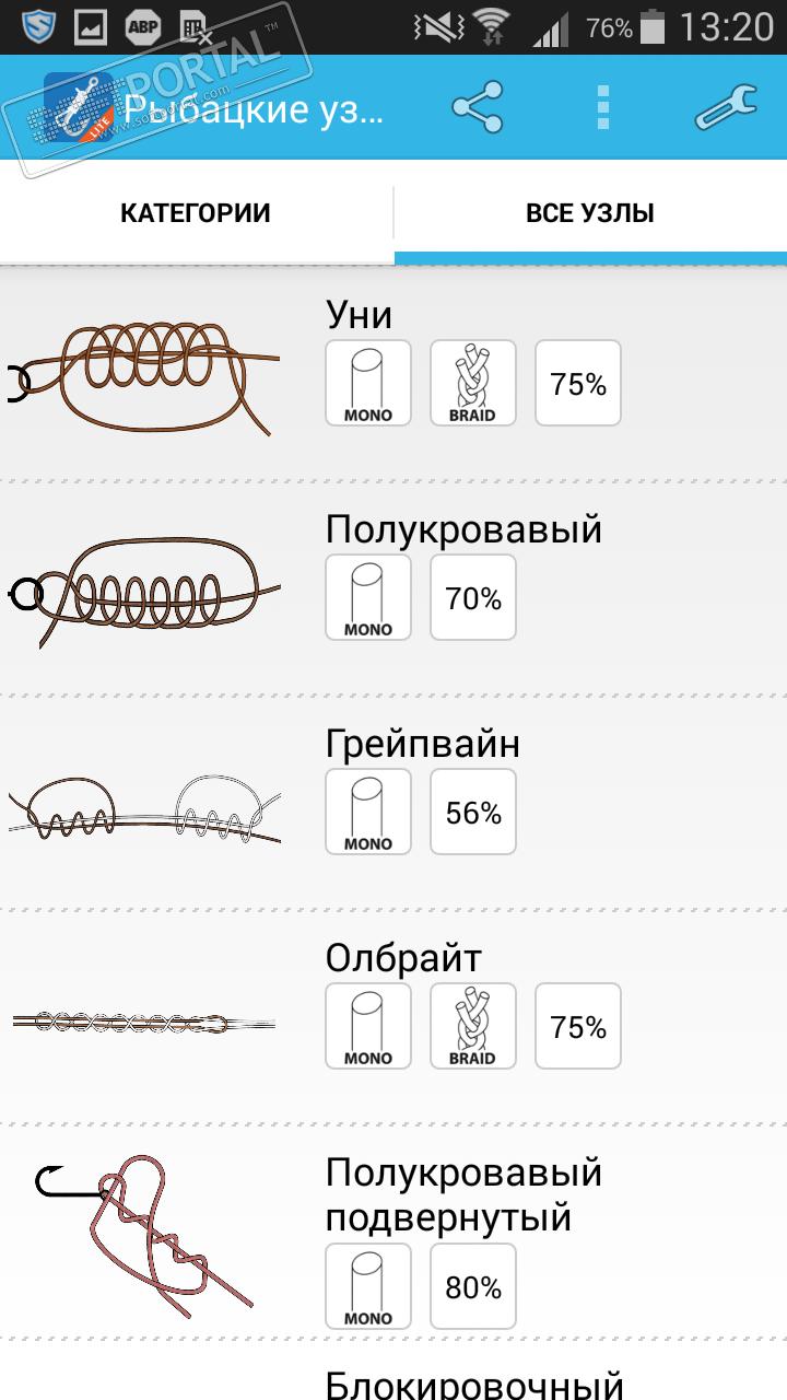 рыболовные узлы приложение