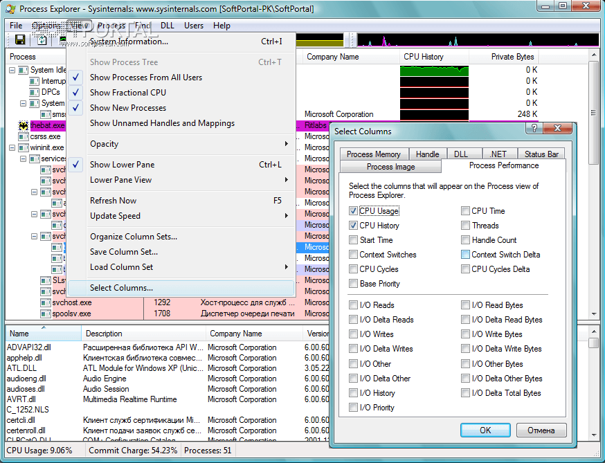 Process explorer 16. 21 + русская версия + portable.